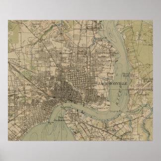 Vintage Map of Jacksonville Florida (1917) Poster