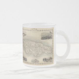 Vintage Map of Jamaica (1851) Frosted Glass Coffee Mug