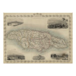 Vintage Map of Jamaica (1851) Posters