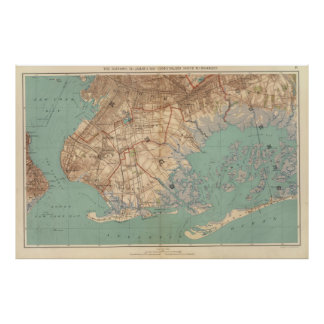 Vintage Map of Jamaica Bay and Brooklyn NY (1891) Poster