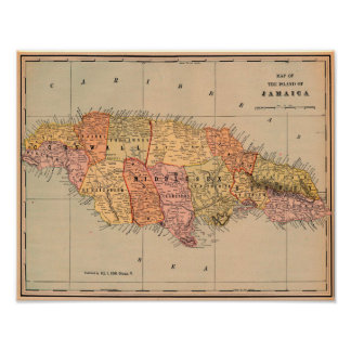 Vintage map of Jamaica Poster