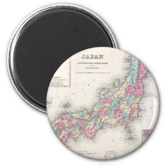 Vintage Map of Japan (1855) 2 Inch Round Magnet