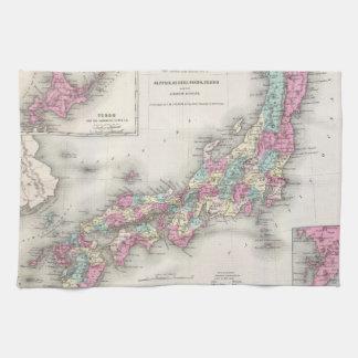 Vintage Map of Japan (1855) Hand Towels