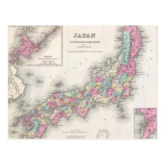 Vintage Map of Japan (1855) Postcard