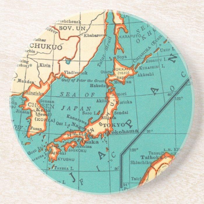 Vintage Map of JAPAN Coaster Beermat