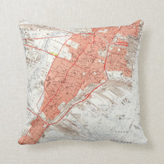 Vintage Map of Jersey City NJ (1955) Throw Pillow