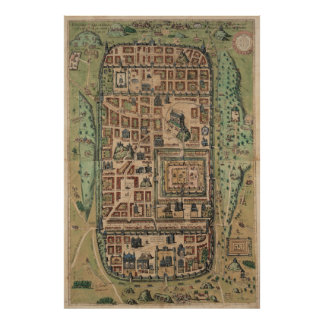 Vintage Map of Jerusalem Israel (1584) Poster