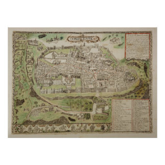 Vintage Map of Jerusalem Israel (16th Century) Poster