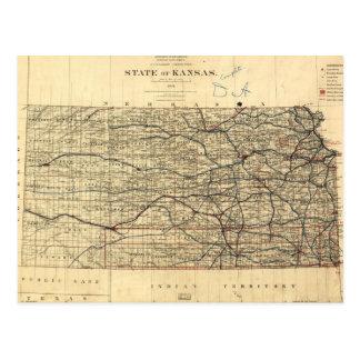 Vintage Map of Kansas (1884) Postcard