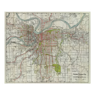 Kansas City Map Posters Zazzle - Kansas city map