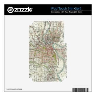 Vintage Map of Kansas City Missouri (1920) Skins For iPod Touch 4G