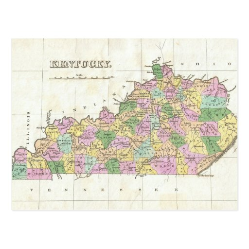 Vintage Map of Kentucky (1827) Post Cards