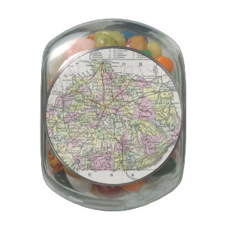 Vintage Map of Kentucky (1850) Glass Candy Jar