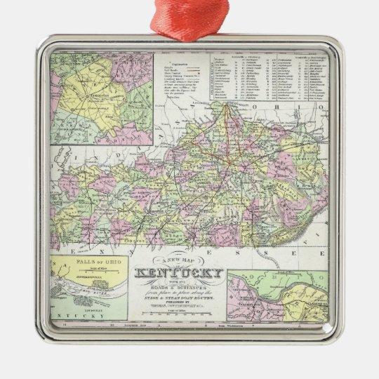 Vintage Map of Kentucky (1850) Metal Ornament