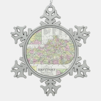Vintage Map of Kentucky (1850) Snowflake Pewter Christmas Ornament