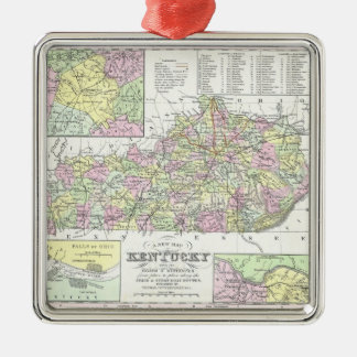 Vintage Map of Kentucky (1850) Square Metal Christmas Ornament