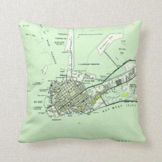 Vintage Map of Key West Florida (1943) Throw Pillow