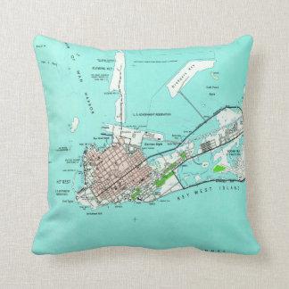 Vintage Map of Key West Florida (1962) Throw Pillow