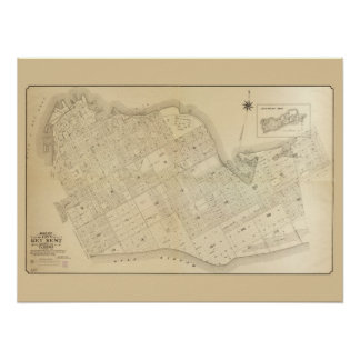 Vintage Map of Key West Florida Poster