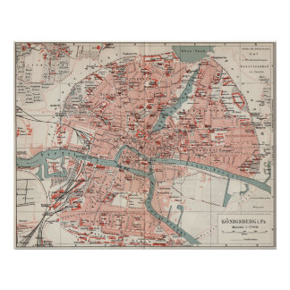 Vintage Map of Königsberg Germany (1905) Poster
