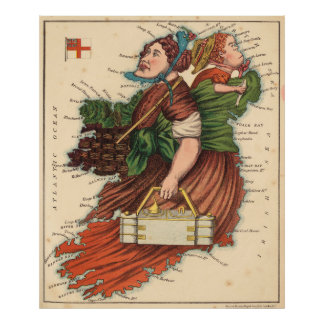 Vintage Map of Lady Ireland (1868) Poster