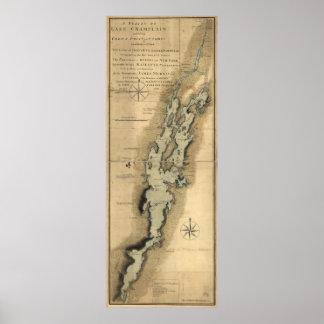 Vintage Map of Lake Champlain (1865) Poster