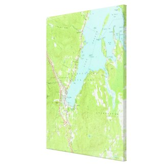 Vintage Map of Lake George New York (1966) 2 Canvas Print