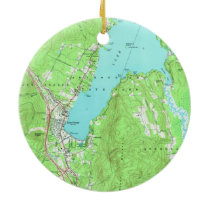 Vintage Map of Lake George New York (1966) Ceramic Ornament