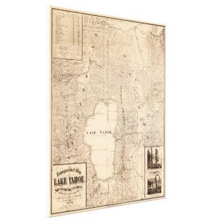 Vintage Map of Lake Tahoe Calfornia (1874) Canvas Print