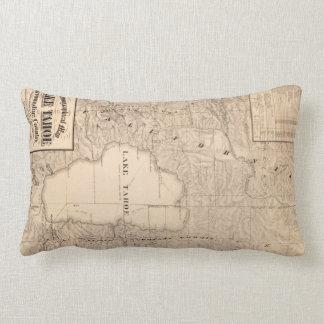 Vintage Map of Lake Tahoe Calfornia (1874) Lumbar Pillow