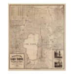 Vintage Map of Lake Tahoe Calfornia (1874) Poster