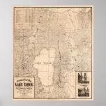 Vintage Map of Lake Tahoe Calfornia (1874) Poster