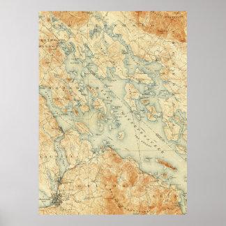 Vintage Map of Lake Winnipesaukee (1907) Poster