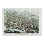 Vintage Map of Lawrence, Massachusetts from 1876 Poster
