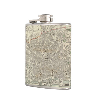 Vintage Map of Liverpool England (1836) Hip Flasks