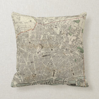Vintage Map of Liverpool England (1836) Throw Pillow