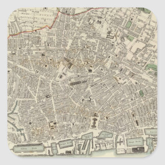 Vintage Map of Liverpool England (1836) Square Stickers