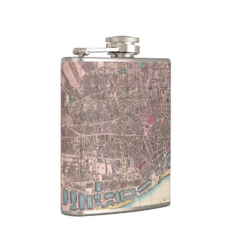 Vintage Map of Liverpool England (1890) Hip Flask