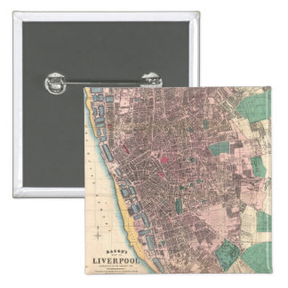 Vintage Map of Liverpool England (1890) Pinback Button