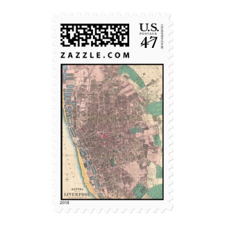 Vintage Map of Liverpool England (1890) Postage Stamp