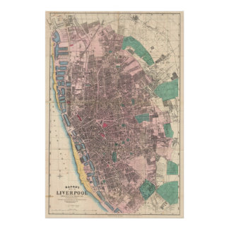 Vintage Map of Liverpool England (1890) Posters