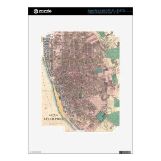 Vintage Map of Liverpool England (1890) Decals For iPad 3
