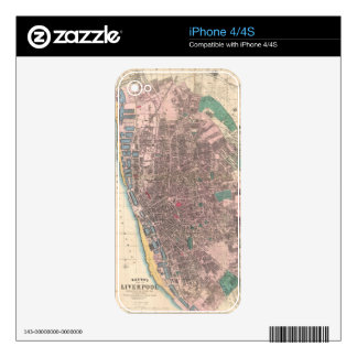 Vintage Map of Liverpool England (1890) iPhone 4S Skin