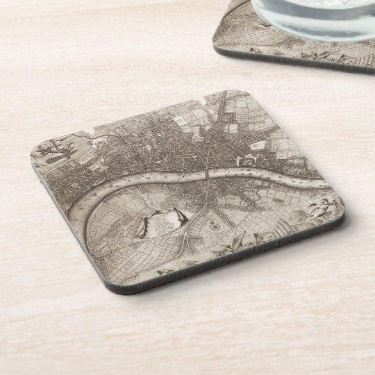 Vintage Map of London (1693) Beverage Coaster