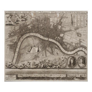Vintage Map of London (1693) Posters