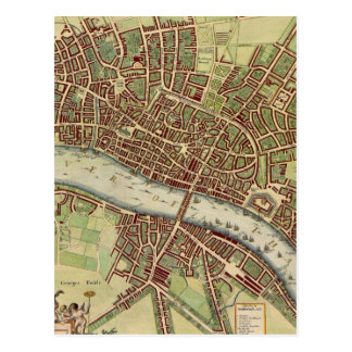 Vintage Map of London (17th Century) Postcard