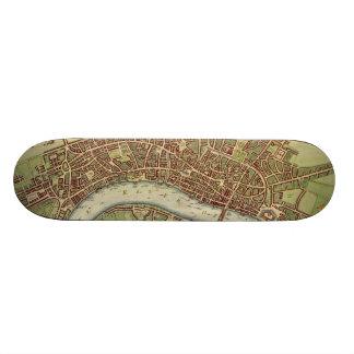 Vintage Map of London (17th Century) Skateboard