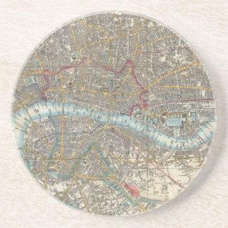 Vintage Map of London (1848) Drink Coaster