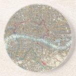 Vintage Map of London (1848) Drink Coasters