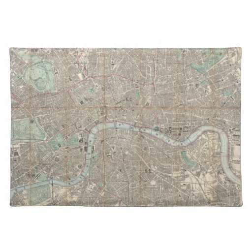 Vintage Map of London (1890) Place Mats